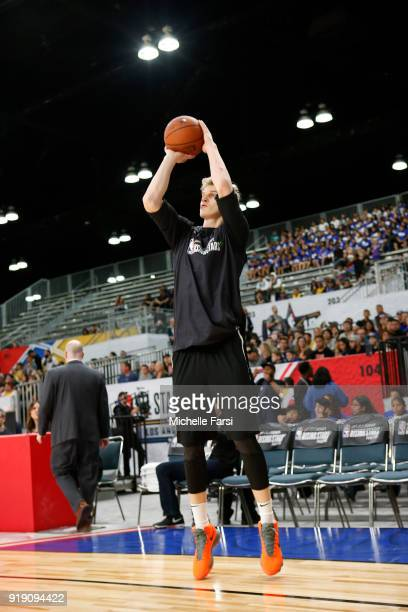 Lauri Markkanen of the World Team shoots during Mtn Dew Kickstart Rising Stars Practice as part of the 2018 NBA AllStar Weekend on February 16 2018...