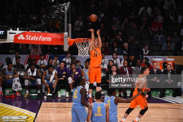Lauri Markkanen of the World Team shoots during the Mtn Dew Kickstart Rising Stars Game during AllStar Friday Night as part of 2018 NBA AllStar...