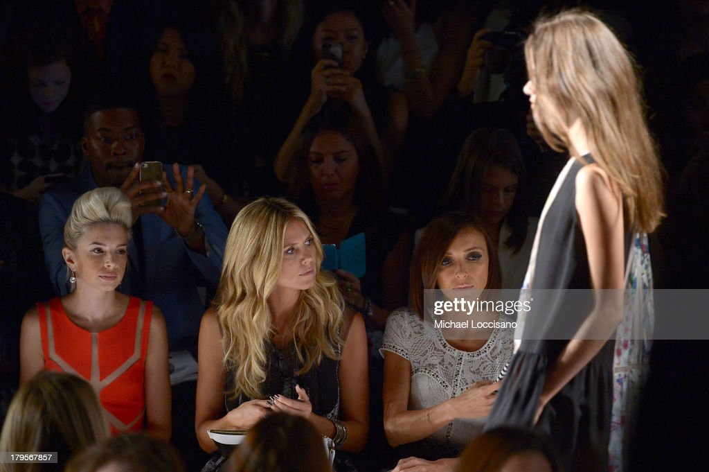 Lauriana Mae, Heidi Klum and Giuliana Rancic attend the BCBGMAXAZRIA Spring 2014 fashion show during Mercedes-Benz Fashion Week at The Theatre at Lincoln Center on September 5, 2013 in New York City.