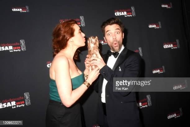 Lauriane Escaffre and Yvonnick Muller awarded for Pile Poil Short movie attend the Cesar Film Awards 2020 Party At Le Bridge Club on February 29 2020...