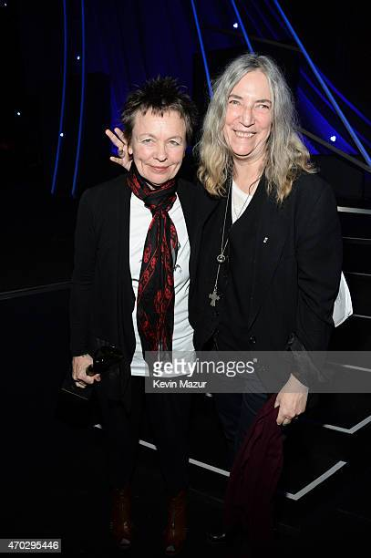 Laurie Anderson and Patti Smith attend the 30th Annual Rock And Roll Hall Of Fame Induction Ceremony at Public Hall on April 18 2015 in Cleveland Ohio