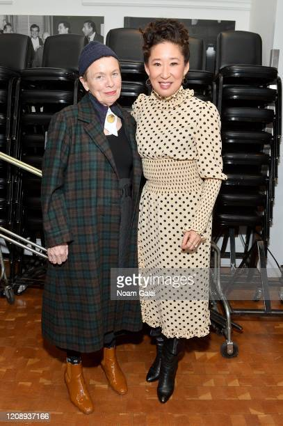 Laurie Anderson and Sandra Oh pose backstage during the 33nd Annual Tibet House US Benefit Concert & Gala on February 26, 2020 in New York City.