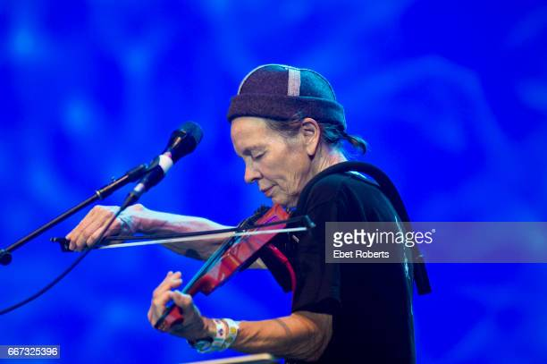 Laurie Anderson performs as part of a Lou Reed tribute entitled 'The Bells' in Damrosch Park at Lincoln Center in New York City on July 30 2016