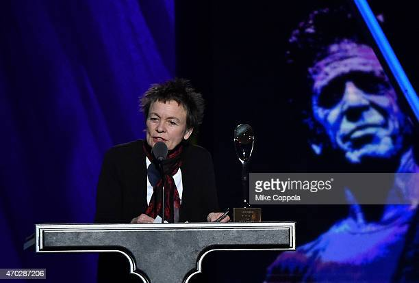 Laurie Anderson speaks onstage on behalf of inductee Lou Reed during the 30th Annual Rock And Roll Hall Of Fame Induction Ceremony at Public Hall on...