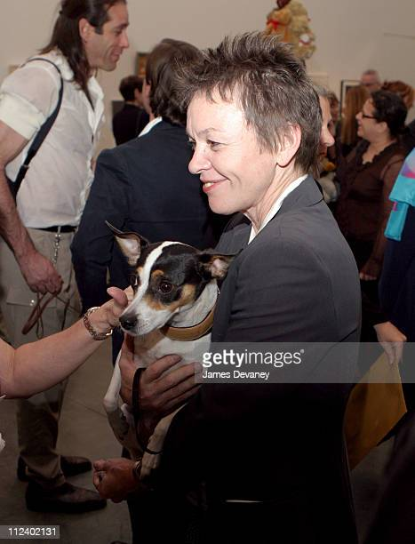 Laurie Anderson with her rat terrier Lolabelle during Canine Cocktail Party 2003 to benefit Art for Animals at Gagosian Gallery in New York City New...