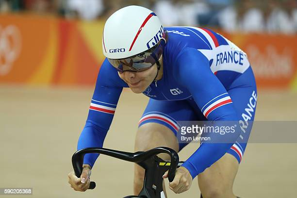 Laurie Berthon of France competes during the Women's Omnium Flying Lap 56 race on Day 11 of the Rio 2016 Olympic Games at the Rio Olympic Velodrome...