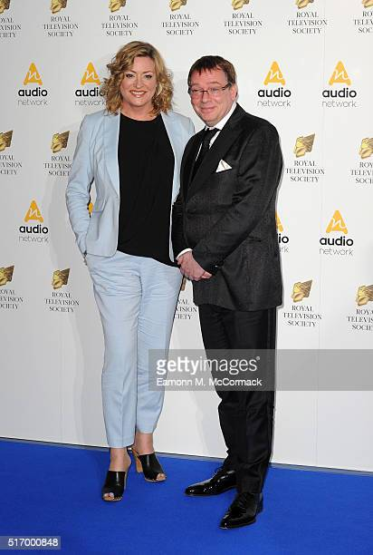 Laurie Brett and Adam Woodyatt arrive for The Royal Television Society Programme Awards at The Grosvenor House Hotel on March 22 2016 in London...