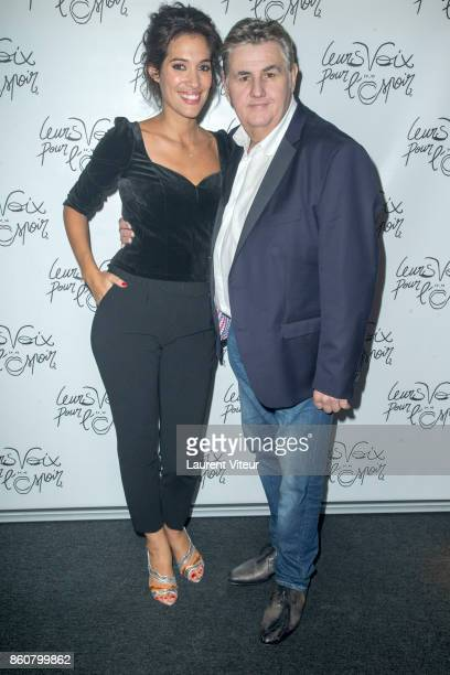 Laurie Cholewa and Pierre Menes attend 'Leurs Voix Pour L'Espoir 2017' at L'Olympia on October 12 2017 in Paris France