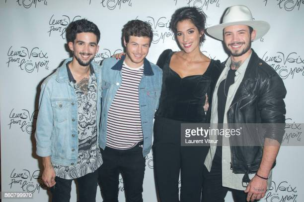 Laurie Cholewa and The Arcadian attend 'Leurs Voix Pour L'Espoir 2017' at L'Olympia on October 12 2017 in Paris France