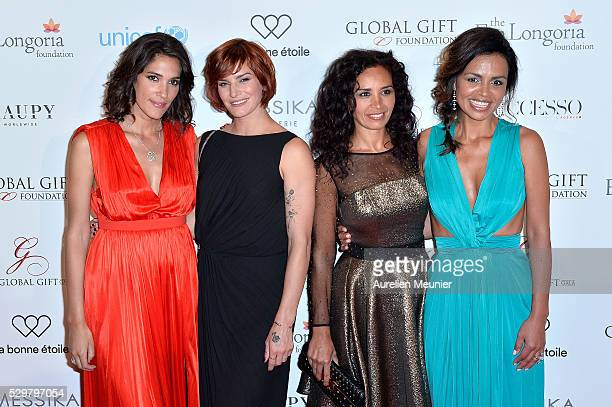 Laurie Cholewa Fauve Hautot Aida Touihri and Laurence Roustandjee attend the Global Gift Gala photocall at Four Seasons Hotel George V on May 9 2016...