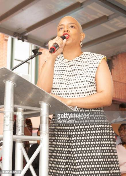Laurie Cumbo NYC Council Majority Leader attends the Notorious B.I.G. Street Naming in Brooklyn New York on June 10, 2019 in Brooklyn, New York. On...