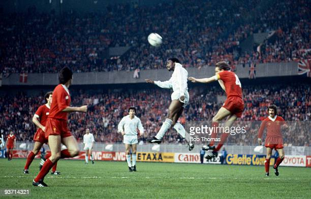 Laurie Cunningham of Real Madrid outjumps Liverpool captain Phil Thompson during the European Cup Final held at the Parc des Princes in Paris on 27th...