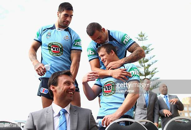 Laurie Daley coach of the Blues James Tamou Josh Morris and Blake Ferguson of the Blues look on during the official New South Wales State of Origin...