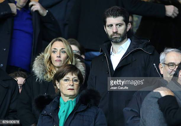 Laurie Delhostal and Pierre Rabadan attend the French Ligue 1 match between Paris Saint Germain and OGC Nice at Parc des Princes stadium on December...