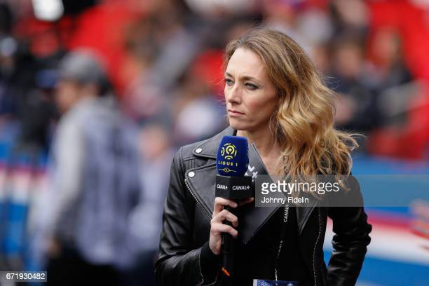 Laurie Delhostal french journalist during the French Ligue 1 match between Paris Saint Germain and Montpellier Herault at Parc des Princes on April...