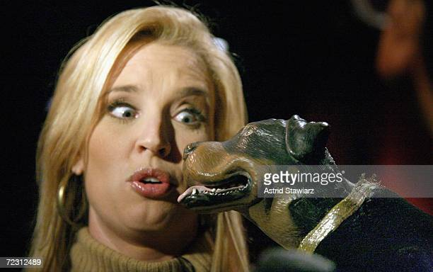 Laurie Dhue interviews Triumph the insult comic dog at the Animal Fair Magazine's Annual Canine Pet Halloween Party on October 30 2006 in New York...