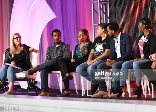 Laurie Dhue TV Journalist with Youth Activists Brian Ball Jasmine Burton Jaclyn Charger Nicholas Cousa and Hannah Lucas attend the 2018 Georgia...