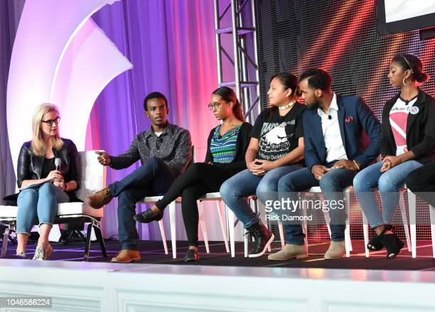 Laurie Dhue TV Journalist with Youth Activists Brian Ball Jasmine Burton Jaclyn Charger Nicholas Cousar and Hannah Lucas attend the 2018 Georgia...