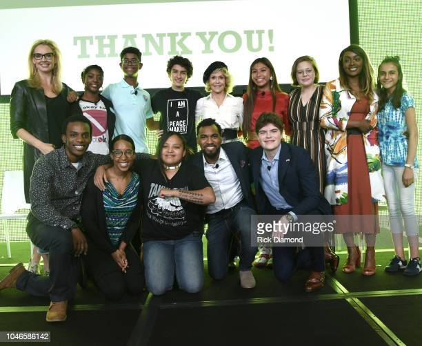 Laurie Dhue TV Journalist with Youth Activists Hannah Lucas Charlie Lucas Royce Mann Jane Fonda GCAPP Founder Board Chair Emeritus Alice Brown Otter...