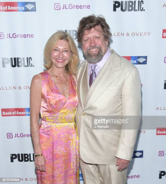 Laurie Eustis and Oskar Eustis attend 'A Midsummer Night's Dream' Opening Night at Delacorte Theater on July 31 2017 in New York City