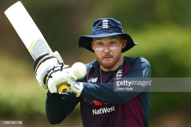 Laurie Evans bats during an England Lions training session at Allan Border Field on January 27 2020 in Brisbane Australia