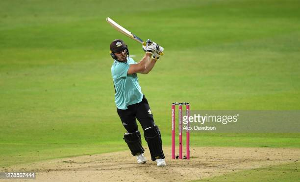 Laurie Evans of Surrey hits runs during the Vitality Blast 20 Final between Surrey and Notts Outlaws at Edgbaston on October 04 2020 in Birmingham...