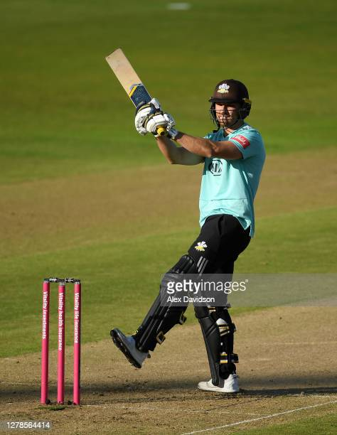 Laurie Evans of Surrey hits runs during the Vitality Blast 2020 Semi Final match between Surrey and Gloucestershire at Edgbaston on October 04 2020...