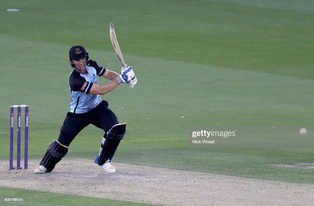 Laurie Evans of Sussex hits a straight drive during the Sussex v Essex - NatWest T20 Blast (G) cricket match at the 1st Central County Ground on August 18, 2017 in Hove, England.