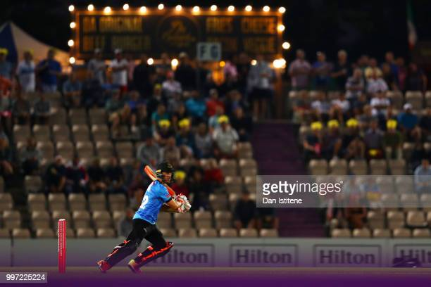 Laurie Evans of Sussex Sharks bats during the Vitality Blast match between Hampshire and Sussex Sharks at The Ageas Bowl on July 12 2018 in...