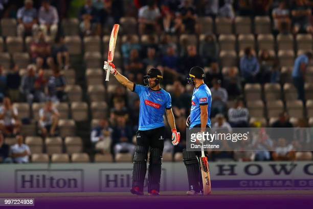 Laurie Evans of Sussex Sharks celebrates his fifty during the Vitality Blast match between Hampshire and Sussex Sharks at The Ageas Bowl on July 12...