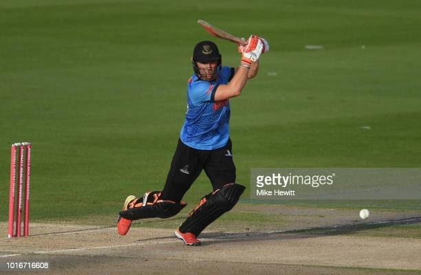 Laurie Evans of Sussex Sharks hits out during the Vitality Blast match between Sussex Sharks and Glamorgan at The 1st Central County Ground on August...