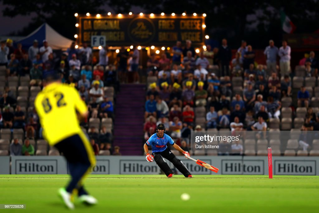 Laurie Evans of Sussex Sharks runs during the Vitality Blast match between Hampshire and Sussex Sharks at The Ageas Bowl on July 12, 2018 in Southampton, England.