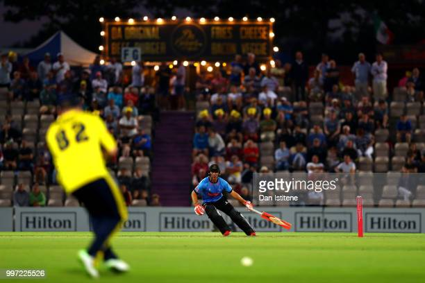 Laurie Evans of Sussex Sharks runs during the Vitality Blast match between Hampshire and Sussex Sharks at The Ageas Bowl on July 12 2018 in...