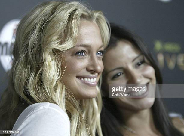 Laurie Fedder and Penelope Jimenez during Xbox Live EA Sports Host Madden NFL 2005 Launch Party Red Carpet at Shelter in West Hollywood California...