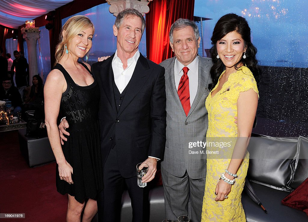 Laurie Feltheimer, Jon Feltheimer, Les Moonves and Julie Chen attend Lionsgate's The Hunger Games: Catching Fire Cannes Party at Baoli Beach sponsored by COVERGIRL on May 18, 2013 in Cannes, France.