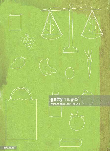 Laurie Harker color illustration of scratchboard images of grocery items fruit vegetables milk and scales balancing dollar signs