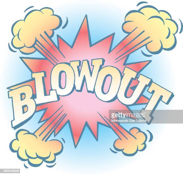 Laurie Harker color illustration of word 'BLOWOUT' with explosive background