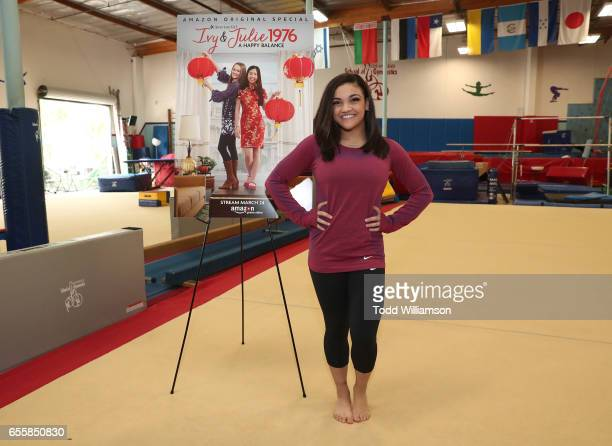 """Laurie Hernandez attends an Amazon Original Special """"An American Girl Story - Ivy & Julie 1976: A Happy Balance"""" Photo Call with Nina Lu, Hannah..."""
