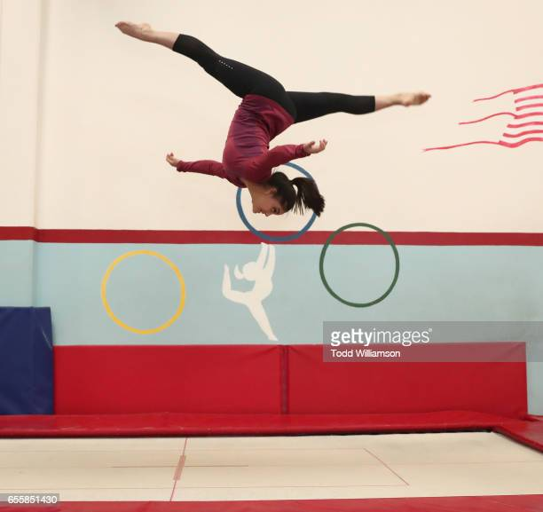 Laurie Hernandez attends an Amazon Original Special An American Girl Story Ivy Julie 1976 A Happy Balance Photo Call with Nina Lu Hannah Nordberg and...