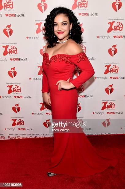 Laurie Hernandez attends The American Heart Association's Go Red For Women Red Dress Collection 2019 Presented By Macy's at Hammerstein Ballroom on...