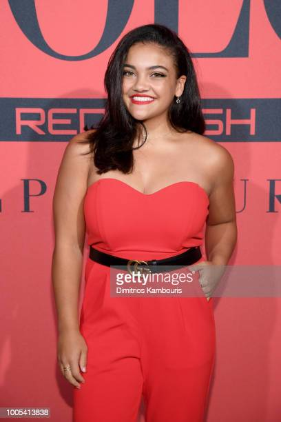 Laurie Hernandez attends the Polo Red Rush Launch Party with Ansel Elgort at Classic Car Club Manhattan on July 25 2018 in New York City
