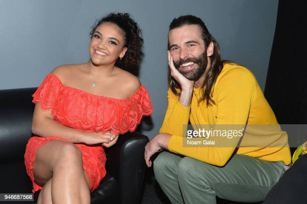 Laurie Hernandez Jonathan Van Ness pose backstage during the 10th Annual Shorty Awards at PlayStation Theater on April 15 2018 in New York City
