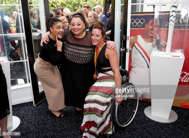 Laurie Hernandez Keala Settle and Tatyana McFadden attend GOLD MEETS GOLDEN The 5th Anniversary Refreshed by CocaCola Globes Weekend Gets Sporty with...