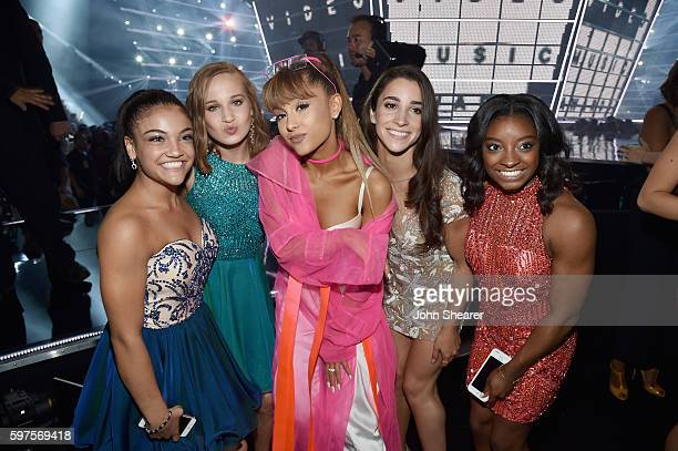 Laurie Hernandez Madison Kocian Ariana Grande Aly Raisman and Simone Biles attend the 2016 MTV Music Video Awards at Madison Square Gareden on August...