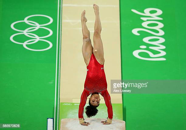 Laurie Hernandez of the United States practices a vault during an artistic gymnastics training session on August 4 2016 at the Arena Olimpica do Rio...