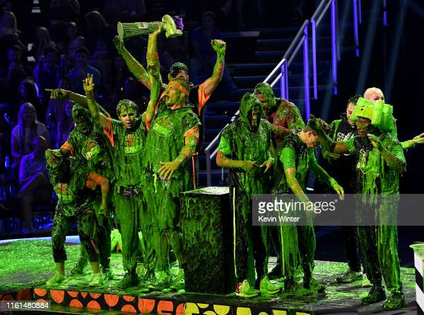 Laurie Hernandez P K Subban David Dobrik Rob Gronkowski Trae Young host Michael Strahan Shaun White and Kel Mitchell react after being slimed onstage...