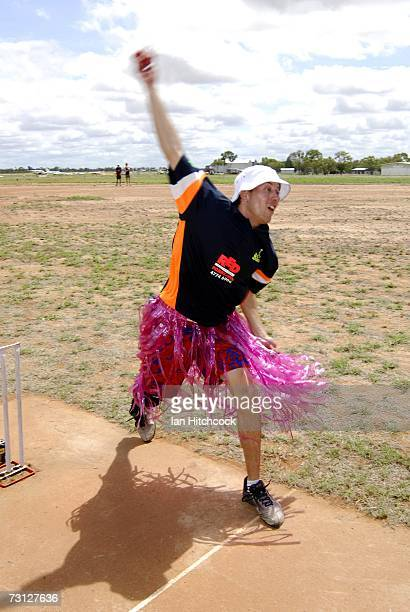 Laurie Irwin from the team 'Two Cans' sends down a delivery during the Goldfield Ashes January 26 2007 in Charters Towers Australia Every Australia...