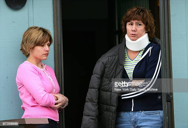 Laurie Johnson the fiancee of handyman Kelly Frank stands outside his home in Simms Mont with friend Teresa Rivenes Frank an excon with a violent...