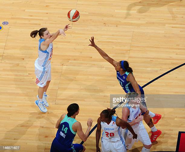 Laurie Koehn of the Atlanta Dream puts up a shot against the New York Liberty at Philips Arena on June 19 2012 in Atlanta Georgia NOTE TO USER User...