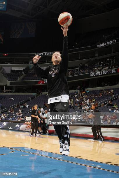 Laurie Koehn of the Washington Mystics lays up a shot before the WNBA game against the Minnesota Lynx on September 14 2008 at the Verizon Center in...